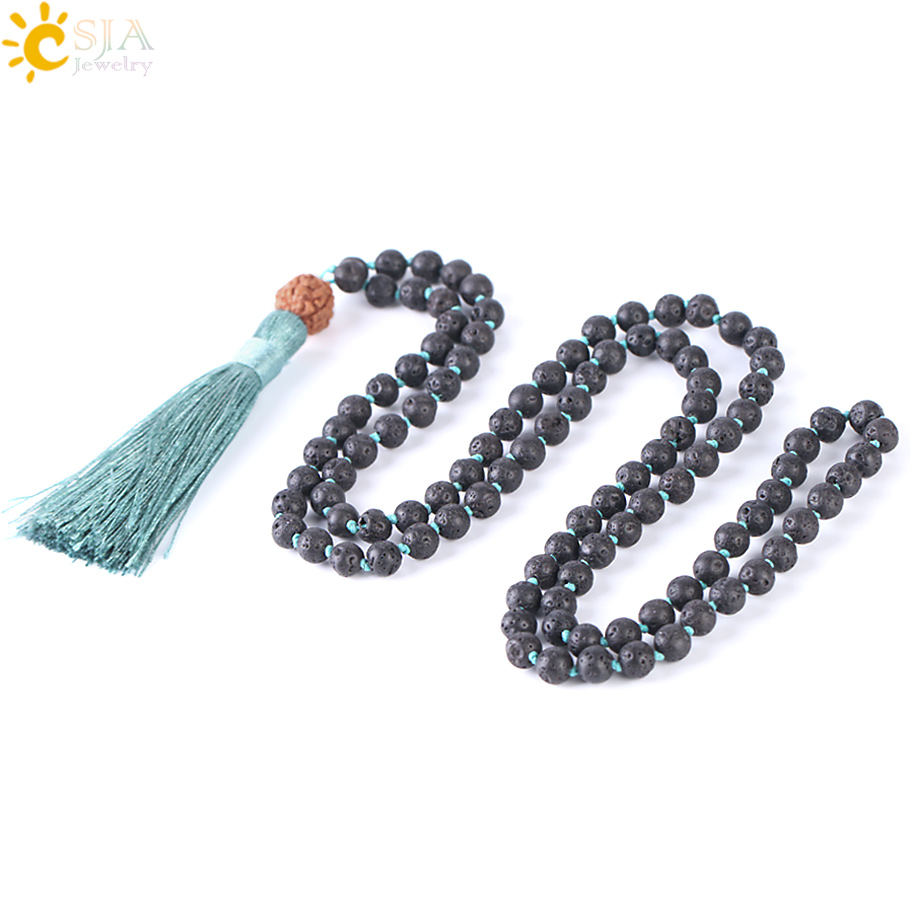 CSJA Natural Lava Rock Necklace 108 Mala Bead 6mm Knotted Long Tassel Necklaces Buddhist Vajra Bodhi Bohemian Style Jewelry F373 chic tassels bead knotted bohemian slender waist rope for women