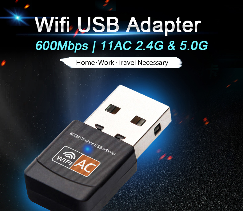 Wireless USB Wifi Adapter AC 600Mbps Wi-fi Adapter 2 4G 5G Network Card  Antenna Wi fi Receiver Lan USB Ethernet PC Wifi Dongle