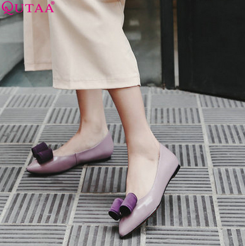 QUTAA 2017 Ladies Summer Shoes Pointed Toe Heel Woman Flat Shoes Genuine Leather Bow Tie Black Women Ballet Flats Size 34-39 qutaa 2017 ladies summer shoes pointed toe heel woman flat shoes genuine leather bow tie black women ballet flats size 34 39