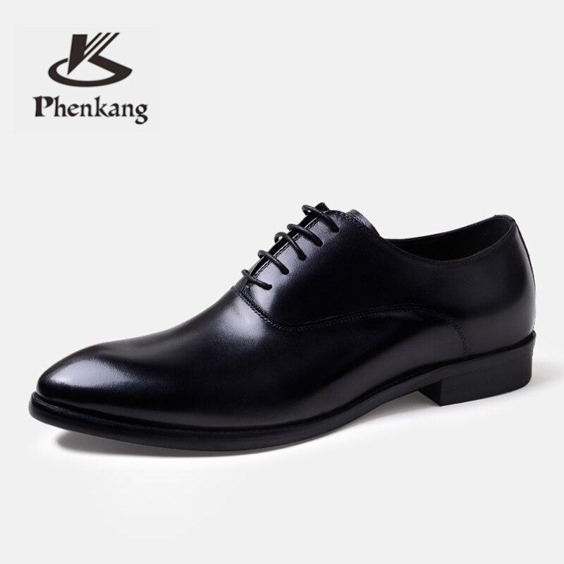 Phenkang hommes chaussures formelles en cuir véritable oxford chaussures pour hommes italien 2019 chaussures habillées chaussures de mariage lacets en cuir richelieu - 5