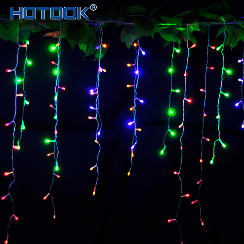 HOTOOK Holiday Lighting Jul LED Curtain String Fairy Lights IP65 4m 3x3m RGB Garland för Utomhus Bröllopsfest dekoration