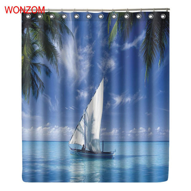 Merveilleux WONZOM Sailing Boat Shower Curtains With 12 Hooks For Bathroom Decor Modern  Landscape Sea Bath Waterproof