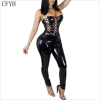 New Fashion Light Stretch PU Leather Rompers Womens Jumpsuit Lace Up Bodycon Bodysuit Women Party Playsuit