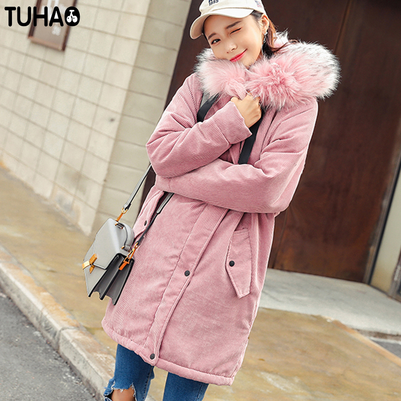 TUHAO 2017 New Women Long Winter Corduroy Jacket Thick Warm Coat Pure Color Hooded Fur Collar Female Parkas Fashion Outwear LW07 lwela 2017 new large raccoon fur collar parka winter jacket women korean fashion corduroy outwear thick warm hooded coat