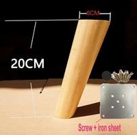 4PCS LOT H 20CM Diameter 4 6cm Furniture Accessories Oblique Sofa Wood Legs Solid Wood TV