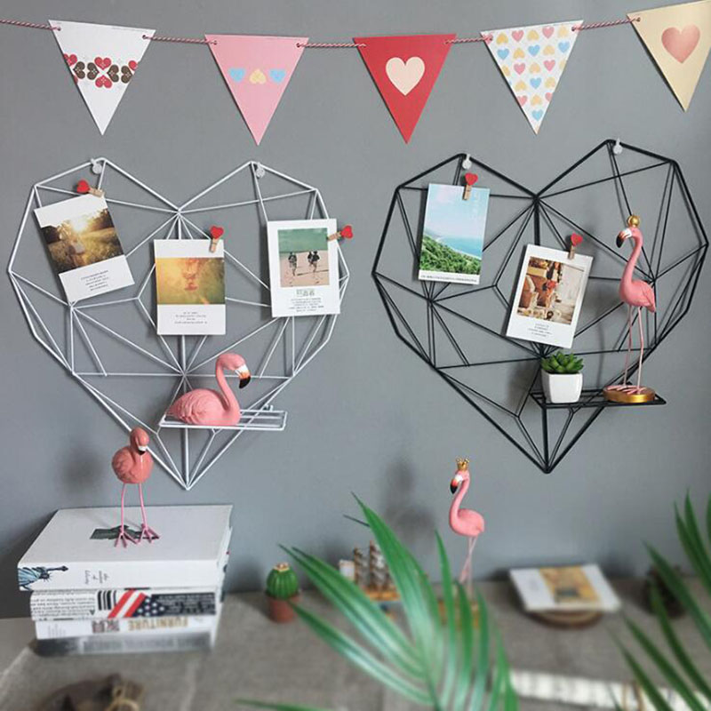 Iron Wire Heart Shape Birthday Gift Iron Wall Hanging Ornament Photo Decorating Holder Art Display Vintage Home Wall Decoration