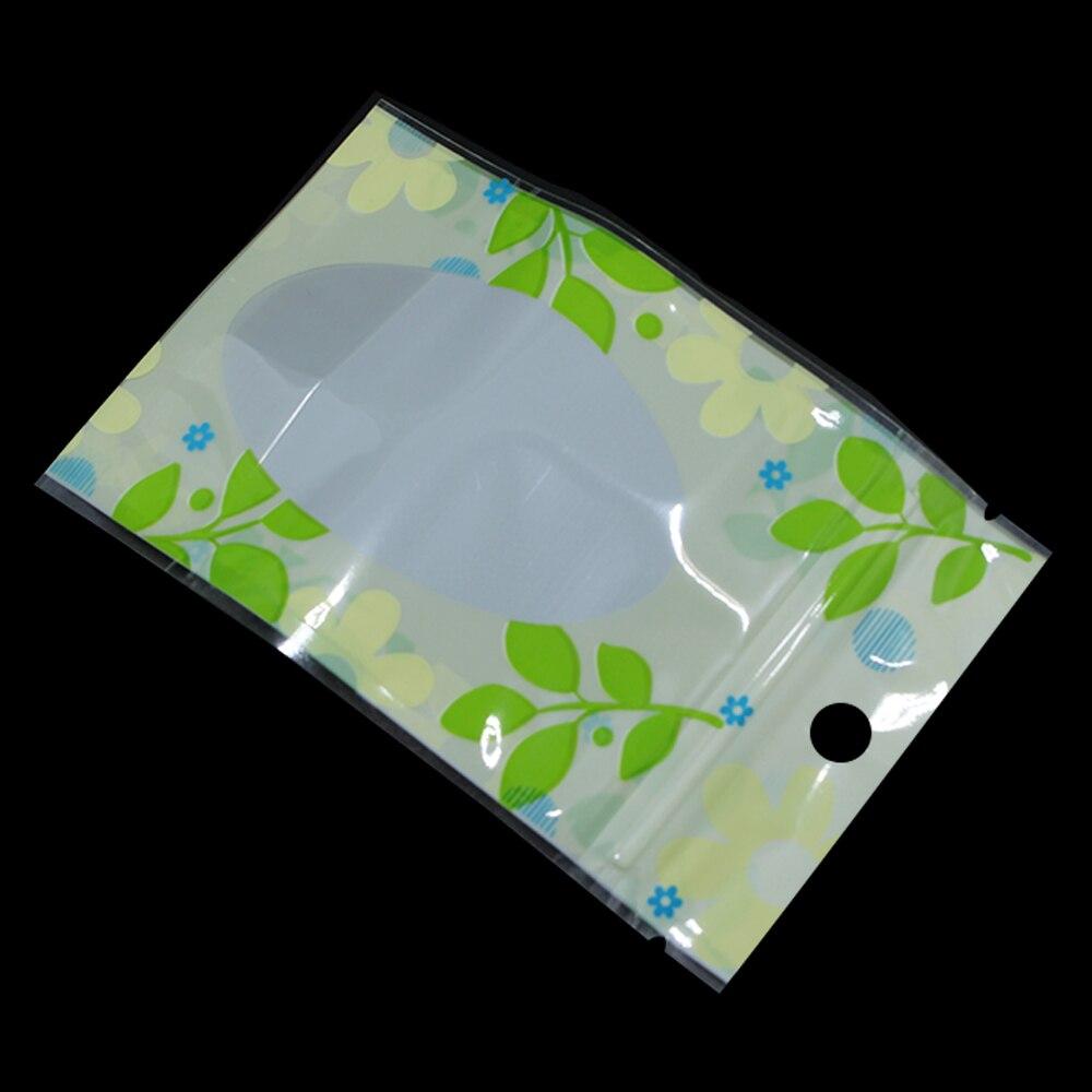 DHL Impressão de Folha de Plástico Com Zíper Saco de Embalagem Stand Up com Janela pendurar Buraco Zip Lock Porcas Feijão Doypack Bolsa de Flores Secas 2 tamanho - 5
