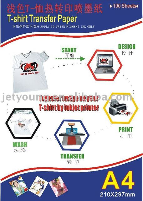 JETYOUNG Cotton T-shirt Transfer Paper w/ Dye ink, pigment ink or sublimation ink for White or light color t-shirt 100sheets/bag