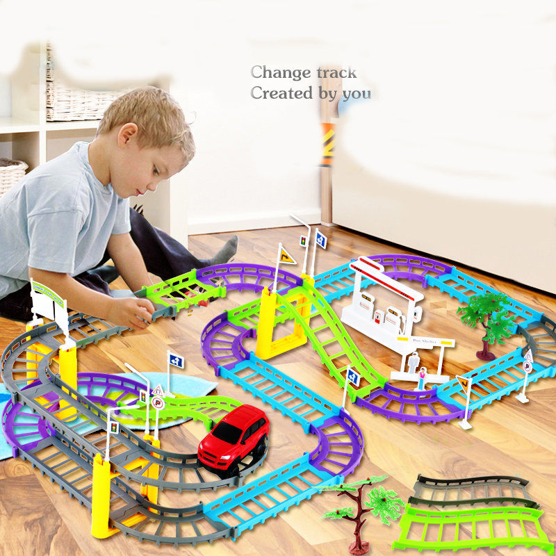 Electric train track car children's toy Thomas little train head suit car track boy toy car For children's gift Kids Toys d418 thomas train track toy electric toy happy farm gift set eyes will move