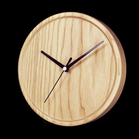 Wooden Wall Clock Natural Wall Clock Round Clock 8 Inch Modern Style Wooden Large Clock Rustic