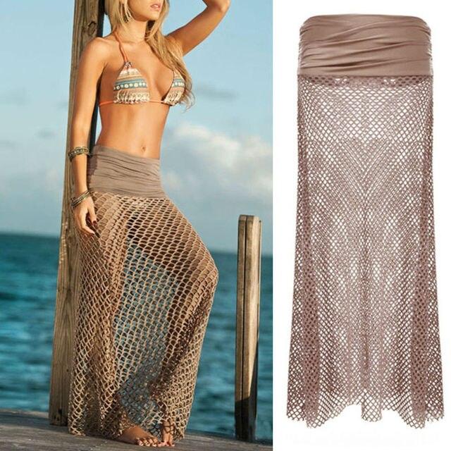 98c0f0d42a 1X Beach Dress Elastic Sexy Women Bikini Swimwear Cover Up Mesh Hollow  Crochet Skirt Dress Best For Woman ES1522