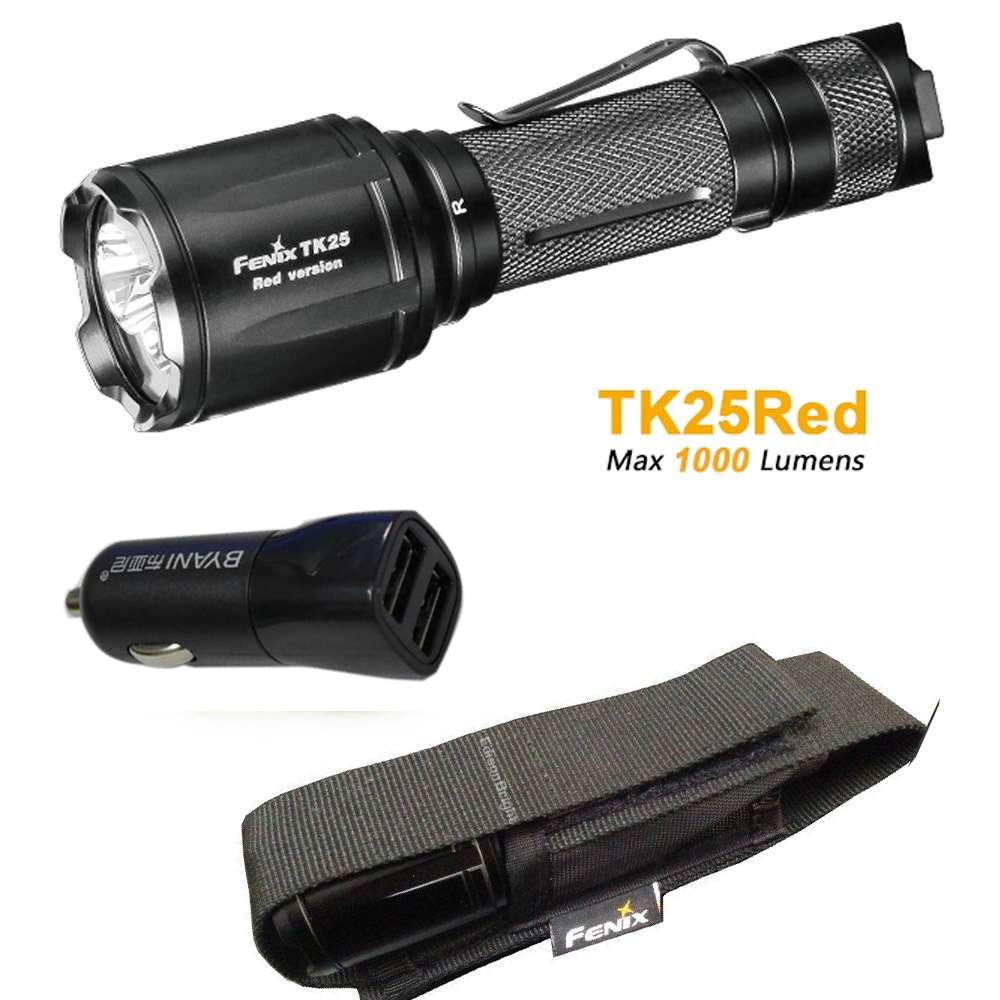 TK25Red Fenix TK25 Red Version Cree XP-G2 S3 & XP-E2 Red LED's Dual Lighting Hunting Flashlight for Most Tactical Demands fenix ld09 2015 version 220 lumens cree xp e2 r3 led flashlight