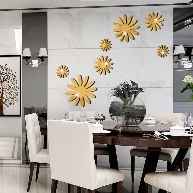 3D Acrylic Mirror Surface Flowers TV Sofa Backdrop Wall ...