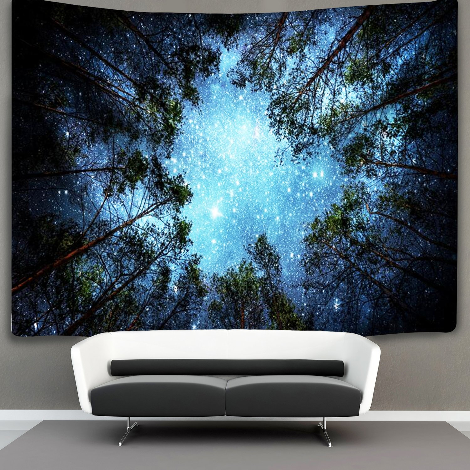 Forest Starry Tapestry Wall Hanging 3D Printing Forest Galaxy Forest Milky Way Tapestry Tree Tapestry Night Sky Tapestry Wall