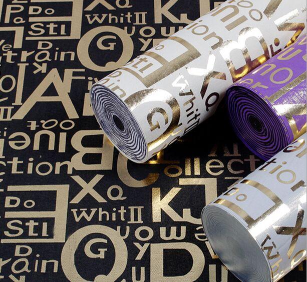 Glitter Europeenne Flash Anglais Lettres Rouleau De Papier Peint