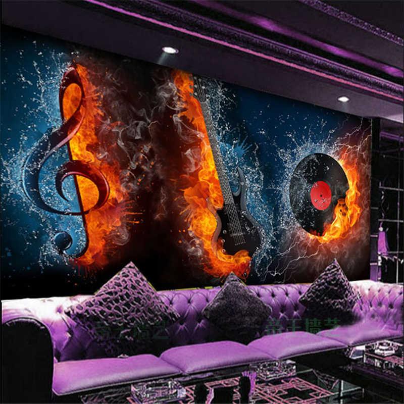 Beibehang papel デ parede 3D 壁画壁装材火災スカルギター音楽 KTV バーレーザー反射テーマ壁画壁紙