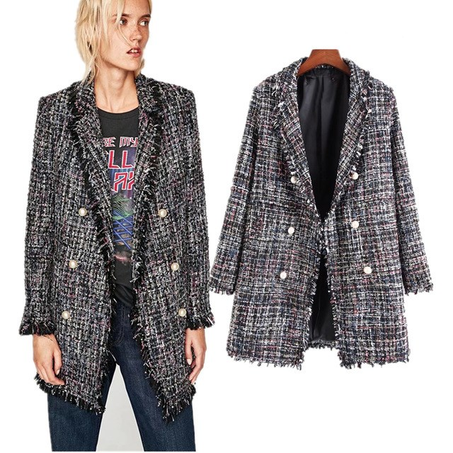 font b Women b font Loose Blazer 2017 European Style Tweed Notched Single Breasted Long
