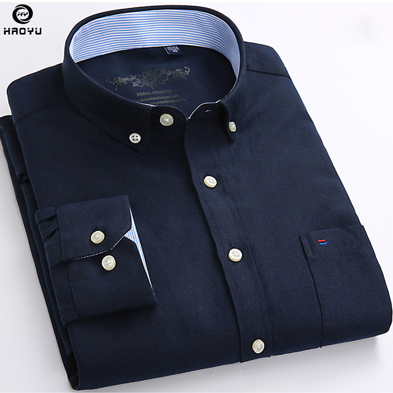 HAOYU 2019 Autumn New Arrival Men Shirt Colorful Shirt Casual Design Oxford Long Sleeve Brand Clothing Comfortable in Casual Shirts from Men 39 s Clothing