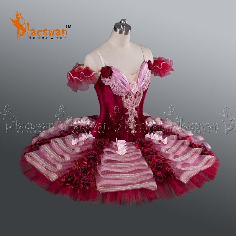 Adult Professional Ballet Tutus BT628 Women Red Velvet Classical Ballet Tutu Costumes Burgundy YAGP Ballet Tutu Stage Costume