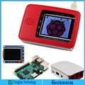 Original Raspberry Pi 3 Model B Board + Official Enclosure / Case + High PPI 2.2 inch TFT Display Shield Kits