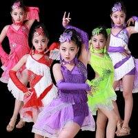 Children's Professional Dancing Dresses Girls Salsa Dresses Multicolor Latin Dance Dress for Kids Latin Practice Wear for Girls