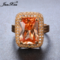 JUNXIN Luxury Male Female Champagne Ring Yellow Gold Filled Vintage Wedding Rings For Men Women Fashion Party Jewelry