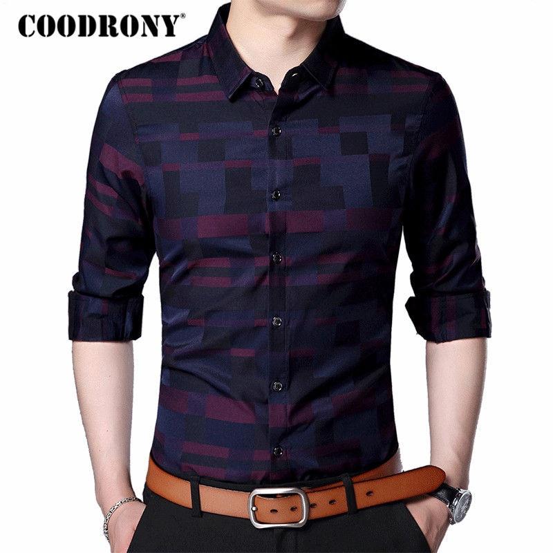 COODRONY Männer Shirt Herren Business Casual Shirts 2019 Neue Ankunft Männer Berühmte Marke Kleidung Plaid Langarm Camisa Masculina 712