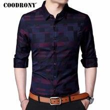 Camisa de hombre de COODRONY camisas informales de negocios para hombres 2019 nueva llegada ropa de marca famosa a cuadros de manga larga Camisa Masculina 712