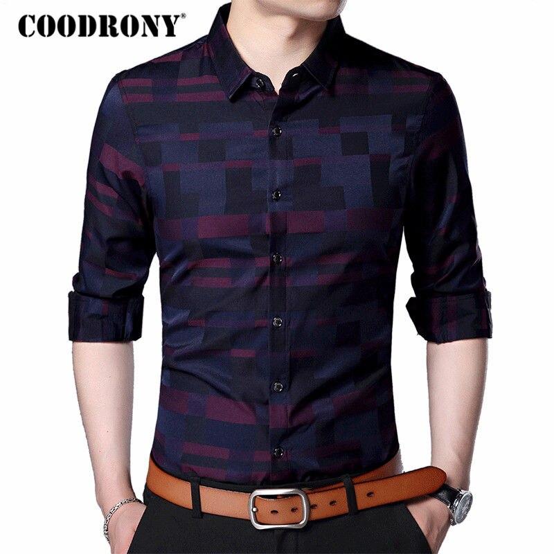 Coodrony camisa masculina de negócios camisas casuais 2019 nova chegada dos homens famosa marca roupas xadrez manga longa masculina 712