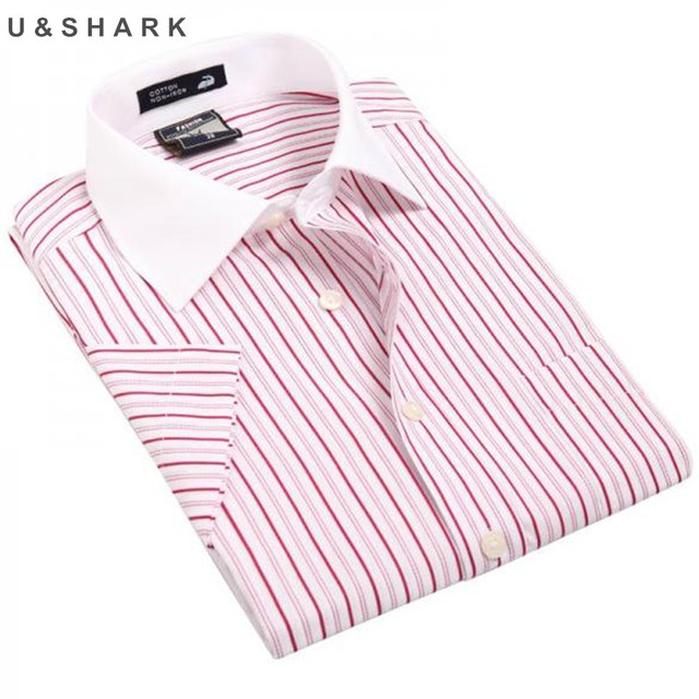 44381ced68a9 2017 new Formal Work Shirts Men Brand Mens Business Dress shirts summer new  casual cotton Striped male short-sleeved Shirt