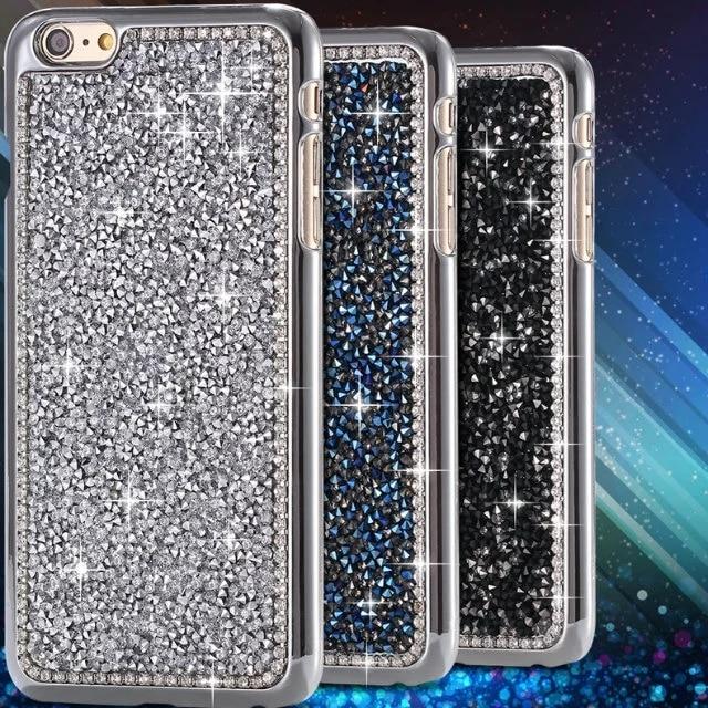 51600790b Diamond Edge Luxury Fashion Bling Crystal Diamond Chrome Hard Back Phone  Case Cover For Iphone 7 6 6S Plus 5 5S SE 5C 4 4S