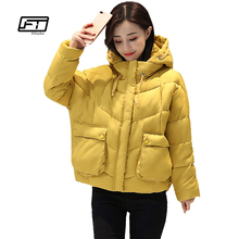 fitaylor hooded black cotton winter jacket women 2017 loose thick casual coats mujer plus size short parka femme