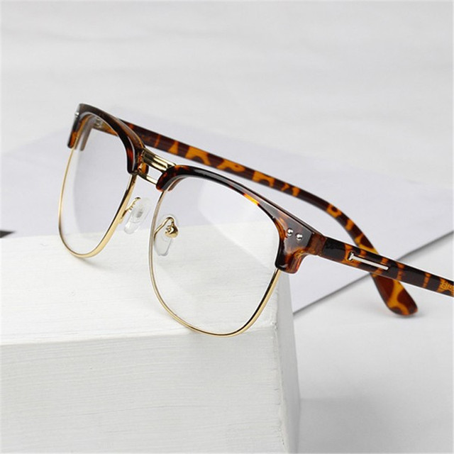 bff26376ce 2016 Women Men Unisex Hipster Vintage Retro Classic Half Frame Glasses  Clear Lens Nerd Eyewear 4 Colors