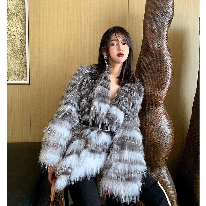 Européen français Milan célébrités catwalk Style luxe tricoté réel fourrure de renard manteaux survêtement pour les femmes