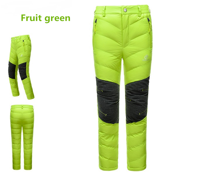 New 2016 Winter Outdoor Sport Waterproof Thermal Kids Boys Girls White Duck Down Trousers Warm Children Skiing Hiking Down Pants in Hiking Pants from Sports Entertainment
