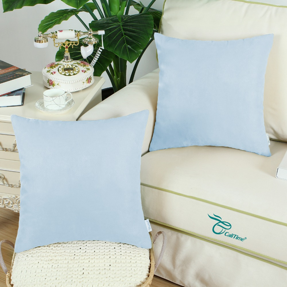 2PCS Square CaliTime Solid Cushion Cover Pillow Shell Home Sofa Decor Super Soft Thick Heavy Faux Suede 20 X 20 Baby Blue