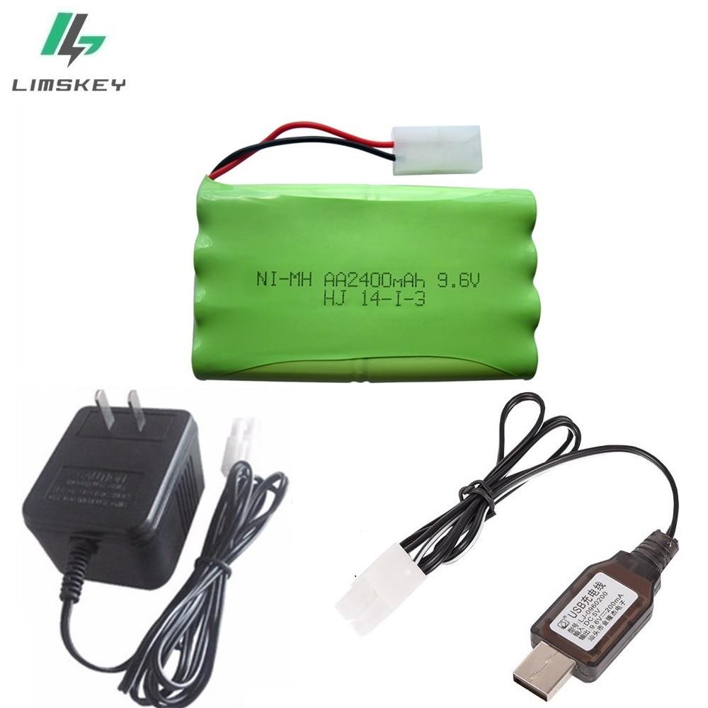 Juego de cargador 2400 mAh control remoto juguete seguridad faclities AA 9,6 V batería Ni-MH batería grupo Kep-2p conectores Plug/Tamiya