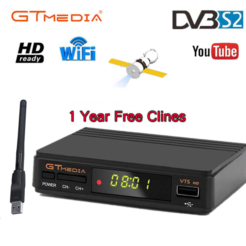 Hot Sale Freesat V7 Satellite TV Receiver Gtmedia V7S HD With Wifi And 1 Year Clines CCCAM For Spain DVB-S2 Full HD  Sat Decoder