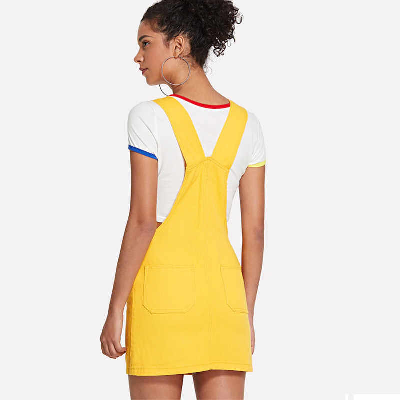 09a3409c2283e ... Yellow Women Denim Short Overalls Skirts 2019 Summer Fashion Streetwear  Suspender Denim Skirt Female Causal Jeans ...