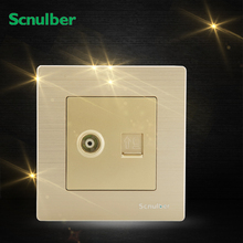 metal cover luxury golden RJ45 8pin 8p adapter and TV wall switch socket