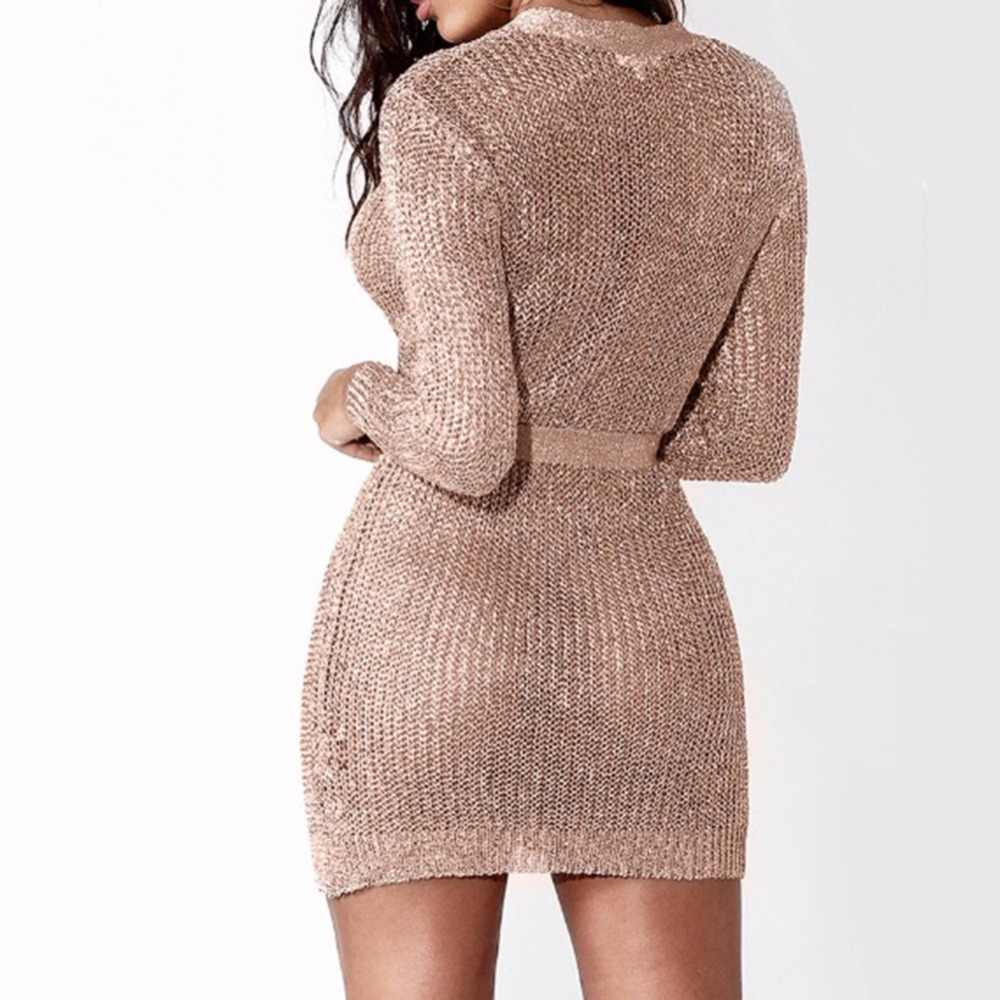 076d0cdc27 Women Sexy Club Rose Gold Knitted Sweater Dress Autumn Winter Long Sleeve  V-Neck Cardigan Bodycon Party Dresses robe femme