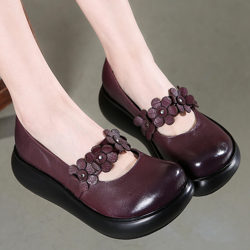 GKTINOO Cowhide Flower Platform Shoes Woman Wedges Genuine Leather Shoes Retro Casual Shoes 2019 Comfort Women Shoes High Heels-in Women's Pumps from Shoes    3