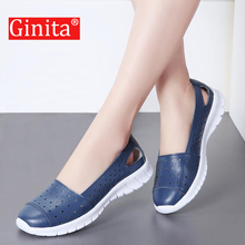 Buy Ginita Summer Flat Shoes Women Plus Size 42 Genuine Leather Sneakers Hollow Hole Ladies Flats Boat Shoes Woman zapatillas mujer directly from merchant!