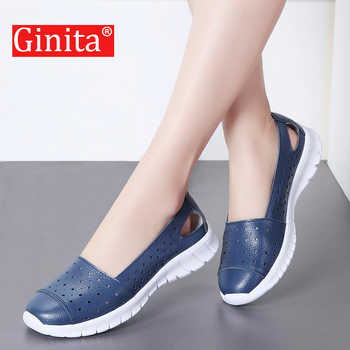Ginita Summer Flat Shoes Women Plus Size 42 Genuine Leather Sneakers Hollow Hole Ladies Flats Boat Shoes Woman zapatillas mujer - DISCOUNT ITEM  45% OFF All Category
