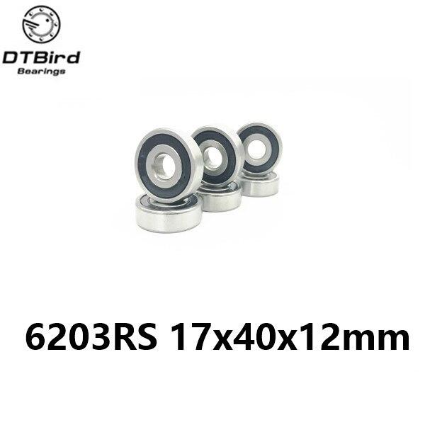 1PCS 6203rs 17x40x12mm hybrid ceramic  Shielded deep groove ball bearing  17*40*12 mm 6 free shipping 6203 2rs full si3n4 ceramic deep groove ball bearing 17x40x12mm 6203 2rs p5 abec5