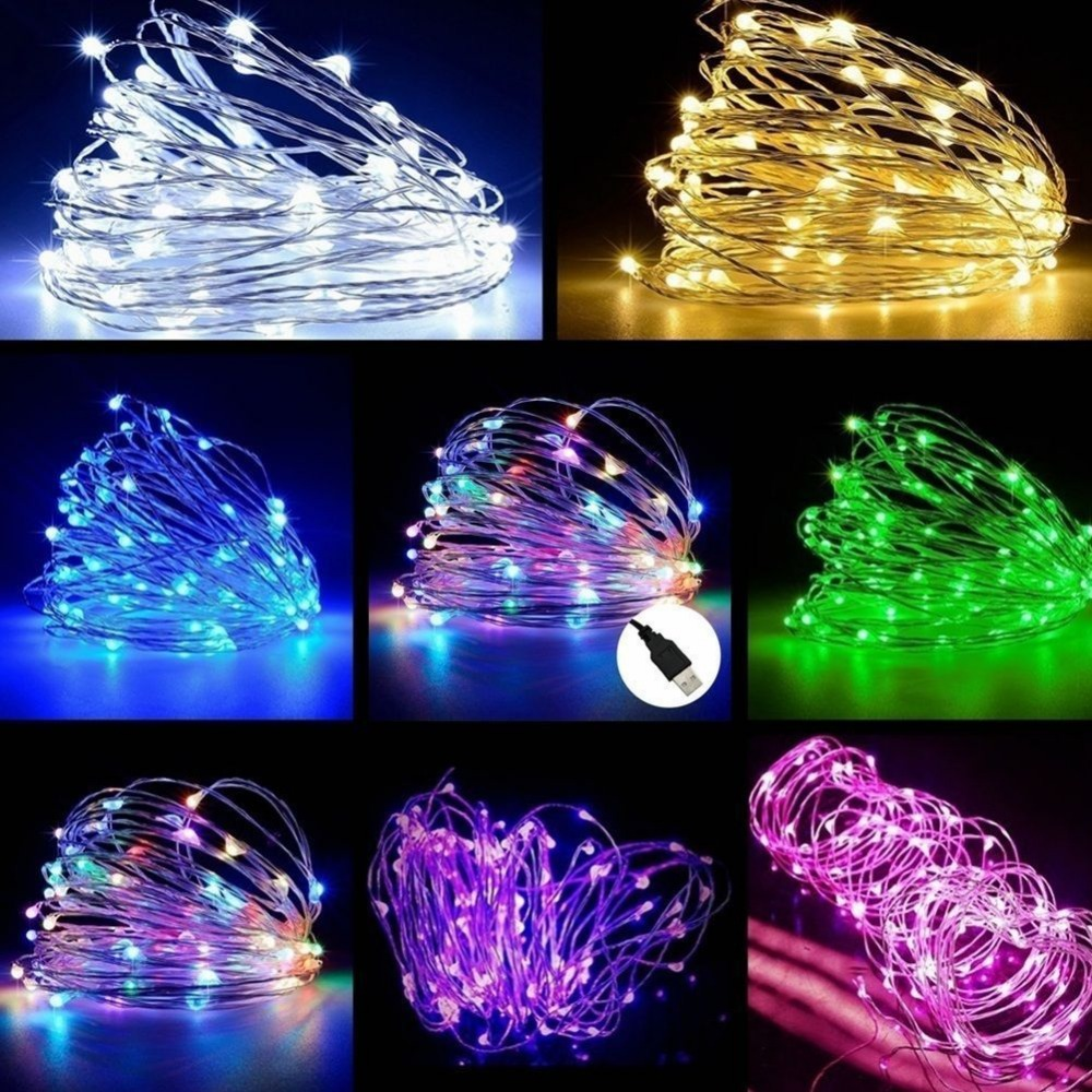 PAIROTTO USB LED Copper Wire String Fairy Light Strip Lamp Xmas Party Waterproof 5m 10m
