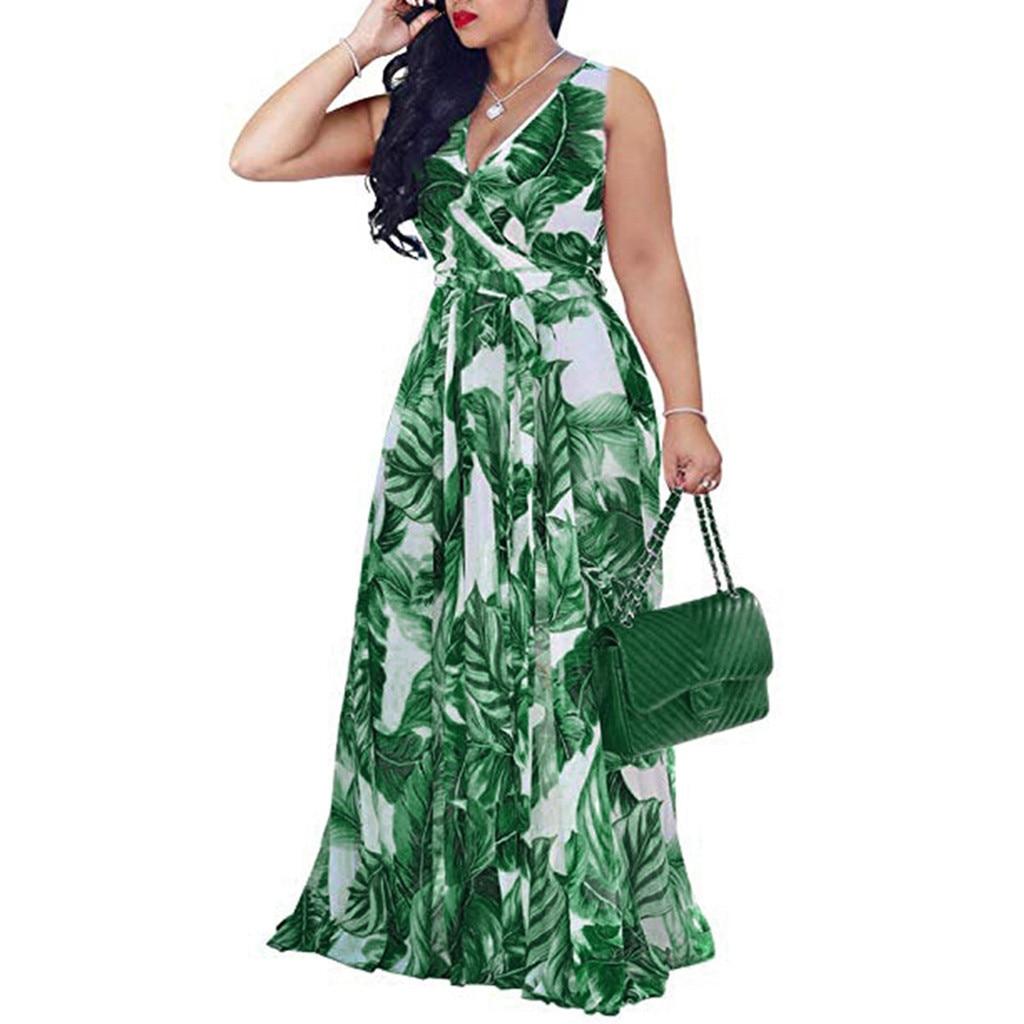 HTB1ONE7X21G3KVjSZFkq6yK4XXa6 Bohemian Floral Print Long Dress For Women Plus Size Sexy Deep V Neck High Waist Bandage Bow Tie Maxi Sundress Pleated Vestidos