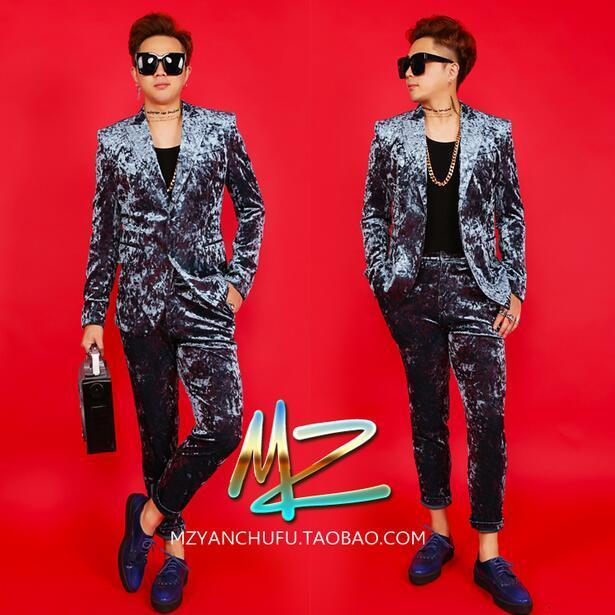 Summer New Nightclub male singer Blazers DJ Host DS stage catwalk Men performance clothing cashmere suit suits