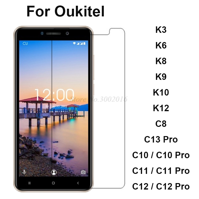 2Pc Tempered Glass For Oukitel K12 K10 K9 K8 K6 K3 Protective Phone Film Screen Protector Oukitel C10 C11 C12 Pro Tempered Glass(China)