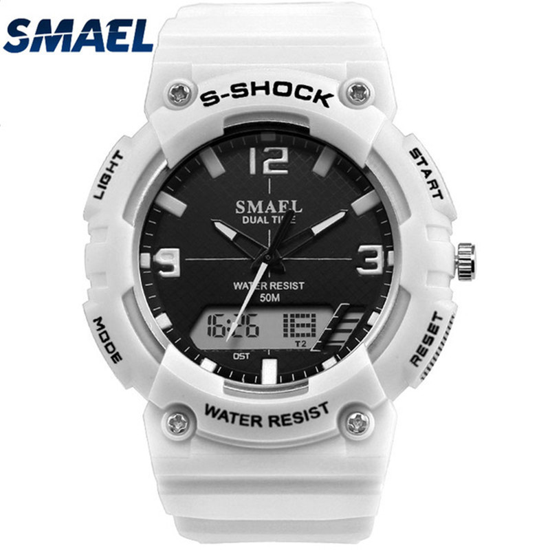 SMAEL S Shock Watches Men's Dual Display Sports Military Watch Men Analog Digital Quartz Wristwatch Male Clock Relogio Masculino cool led watch men analog alarm s shock led digital wrist watch mens smael watch men 1637 relogio masculino sport watch running